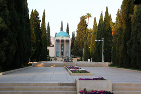 The tomb of Saadi is seen in the photo, Shiraz, Iran, April 20, 2020. Today is the National Commemoration Day of the well-known Iranian poet, Saadi Shirazi, born in Shiraz City around 1200.