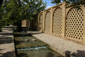 Historical Shahzadeh Mahan Garden, Kerman, Iran, April 23, 2020. The garden is 5.5 hectares in extent surrounded by walls. There is a two-floor residential structure inside the garden.