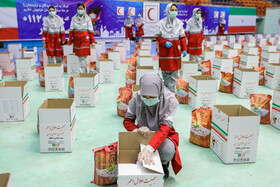 Iranian Red Crescent Society prepares numerous aid packages for needy families and cancer patients, Tehran, Iran, May 2, 2020.