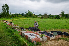 The graves of coronavirus cases are seen in the photo, Mazandaran, Iran, May 3, 2020.