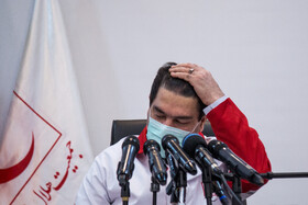 Chief of Iran's Red Crescent Society, Karim Hemmati, is present in a press conference, Tehran, Iran, May 5, 2020.