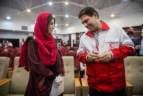 On the sidelines of the joint press conference between the head of the ICRC delegation in Tehran, Barbara Rizzoli (L), and Chief of the Red Crescent Society of the Islamic Republic of Iran, Karim Hemmati, Tehran, Iran, May 5, 2020.