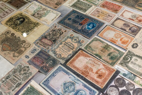 Historical Iranian and foreign banknotes are seen in the photo, Alborz Stamp Museum, Karaj, Iran, May 19, 2020.
