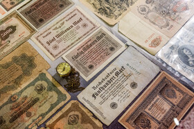 Historical foreign banknotes are seen in the photo, Alborz Stamp Museum, Karaj, Iran, May 19, 2020.
