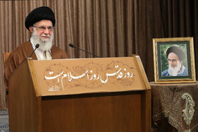 "Iran's Supreme Leader Ayatollah Ali Khamenei delivers a speech on the occasion of ""International Quds Day"", Iran, May 22, 2020."
