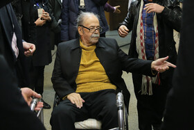 The photo of the veteran Iranian actor Mohammad Ali Keshavarz who passed away on Sunday June 14 at the age of 90.