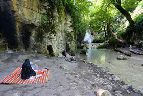 Lowe Waterfall is seen in the photo, Golestan, Iran, June 28, 2020. Lowe, which has been consisted of great and small waterfalls, is one of the most impressive waterfalls of Iran.