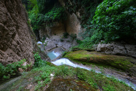 Lowe Waterfall is seen in the photo, Golestan, Iran, June 28, 2020. The Waterfall lies in a valley covered with maple and alder trees and cascades along a rocky slope.