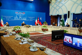 The virtual conference between Iranian President Hassan Rouhani, Russian President Vladimir Putin and Turkish President Recep Tayyip Erdoğan, Tehran, Iran, July 1, 2020.