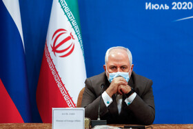 Iranian Foreign Minister Mohammad Javad Zarif is present in a virtual conference between Iranian President Hassan Rouhani, Russian President Vladimir Putin and Turkish President Recep Tayyip Erdoğan, Tehran, Iran, July 1, 2020.