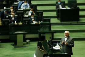 Iranian Foreign Minister Mohammad Javad Zarif delivers a speech during the public session of Iran's Parliament, Tehran, Iran, July 5, 2020.