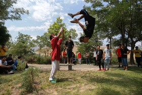 Young people are seen while practising parkour, Hamedan, Iran, July 25, 2020. There are nearly a thousand people who practice parkour in Hamedan Province of Iran.