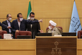 On the sidelines of the session of the administrative justice court held in the presence of Iran's Judiciary Chief, Ebrahim Raeisi, Tehran, Iran, July 29, 2020.