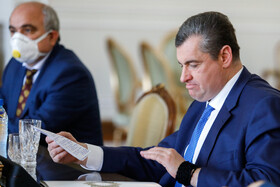 Chairman of the Russian State Duma Foreign Affairs Committee, Leonid Slutsky, is seen during his meeting with Iranian Foreign Minister, Mohammad Javad Zarif, Tehran, Iran, August 2, 2020.