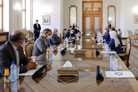 The meeting between Iranian Foreign Minister, Mohammad Javad Zarif, and Chairman of the Russian State Duma Foreign Affairs Committee, Leonid Slutsky, Tehran, Iran, August 2, 2020.