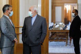 Iranian Foreign Minister, Mohammad Javad Zarif (R), is seen on the sidelines of his meeting with Chairman of the Russian State Duma Foreign Affairs Committee, Leonid Slutsky, Tehran, Iran, August 2, 2020.
