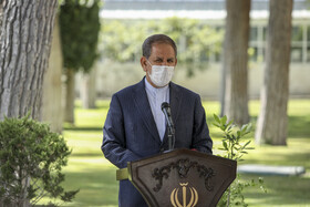 Iranian First Vice-President, Es'haq Jahangiri, answers the questions of correspondents on the sidelines of the session of Iran's cabinet ministers, Tehran, Iran, August 5, 2020.