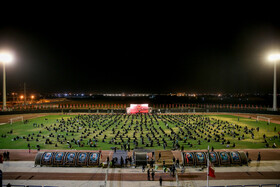 The mourning ceremony of the night of Ashura at the stadium of martyrs of Islamshahr, Tehran, Iran, August 29, 2020.