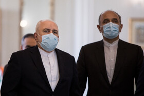 Iranian Foreign Minister, Mohammad Javad Zarif (left), is seen before the beginning of his meeting with Indian Minister of External Affairs, Subrahmanyam Jaishankar, Tehran, Iran, September 8, 2020.