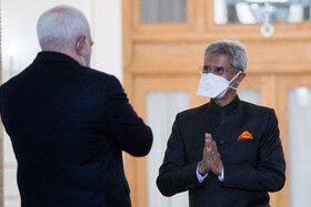 The meeting between Iranian Foreign Minister, Mohammad Javad Zarif (left), and Indian Minister of External Affairs, Subrahmanyam Jaishankar, Tehran, Iran, September 8, 2020.