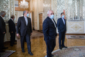 Iranian Foreign Minister, Mohammad Javad Zarif (front), is seen before the beginning of his meeting with Indian Minister of External Affairs, Subrahmanyam Jaishankar, Tehran, Iran, September 8, 2020.