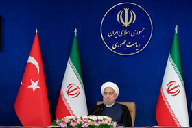 Iranian President, Hassan Rouhani, is seen during the joint videoconference meeting of high-level delegations of Iran and Turkey, Tehran, Iran, September 8, 2020.