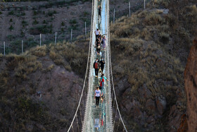The world's first all-glass suspension arch bridge is seen in the photo, Ardabil, Iran, September 26, 2020.