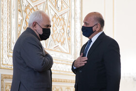 Iranian Foreign Minister, Mohammad Javad Zarif (left), welcomes Iraqi Foreign Minister, Fuad Hussein, in Tehran, Iran, September 26, 2020.