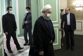 Iranian President, Hassan Rouhani (front), is seen before the beginning of his meeting with Iraqi Foreign Minister, Fuad Hussein, Tehran, Iran, September 26, 2020.