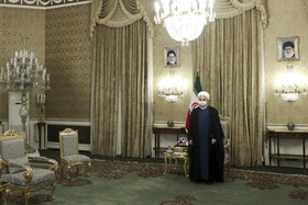 Iranian President, Hassan Rouhani, is seen before the beginning of his meeting with Iraqi Foreign Minister, Fuad Hussein, Tehran, Iran, September 26, 2020.