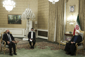 The meeting between Iranian President, Hassan Rouhani, and Iraqi Foreign Minister, Fuad Hussein, Tehran, Iran, September 26, 2020.