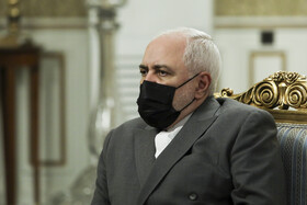 Iranian Foreign Minister, Mohammad Javad Zarif, is present during the meeting between Iranian President, Hassan Rouhani, and Iraqi Foreign Minister, Fuad Hussein, Tehran, Iran, September 26, 2020.