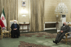 Iranian Foreign Minister, Mohammad Javad Zarif (right), is present during the meeting between Iranian President, Hassan Rouhani (left), and Iraqi Foreign Minister, Fuad Hussein, Tehran, Iran, September 26, 2020.
