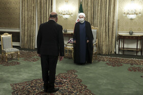 Iranian President, Hassan Rouhani (right), gives a reception for the visiting Iraqi Foreign Minister, Fuad Hussein, Tehran, Iran, September 26, 2020.