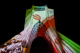 A video-mapping performance is staged at Azadi Tower to mark the Tehran Week, Tehran, Iran, October 6, 2020.