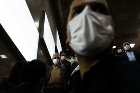 Iran's government spokesman, Ali Rabiei, is seen in Tehran's subway on the first day of compulsory face-mask rule, Iran, October 10, 2020.