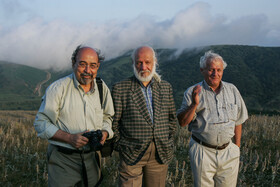 Akbar Alami (right), Iranian university professor, film critic, film director, and TV presenter, is seen in the photo, Iran.