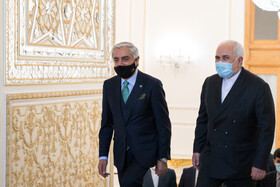 Iranian Foreign Minister, Mohammad Javad Zarif (right), welcomes Abdullah Abdullah, the head of Afghanistan's High Council for National Reconciliation in Tehran, Iran, October 18, 2020.