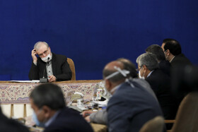 Iran's Health Minister, Saeid Namaki, attends a meeting between Iranian President, Hassan Rouhan, and physicians, Tehran, October 19, 2020.