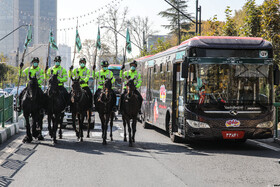 Mounted police officers stage parade in Tehran