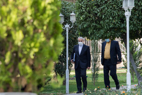 Head of Iran's Plan and Budget Organization, Mohammad Bagher Nobakht (left), is seen on the sidelines of the session of Iran's Cabinet Ministers, Tehran, Iran, October 28, 2020.