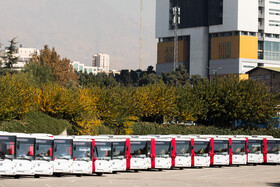 A ceremony in which 100 new buses and minibuses join to the transportation fleet of Tehran is held in the presence of Tehran Mayor, Pirouz Hanachi, and the chief of Tehran's City Council, Mohsen Hashemi Rafsanjani, Tehran, Iran, November 2, 2020.