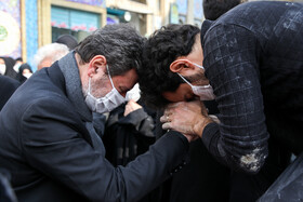 The burial ceremony of Mohsen Fakhrizadeh is held at the Imamzadeh Saleh Shrine, Tehran, Iran, November 30, 2020.