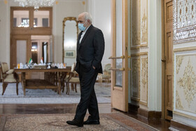 Iranian Foreign Minister, Mohammad Javad Zarif, is seen before the beginning of his meeting with Syrian Foreign Minister, Faisal Mekdad, in Tehran, Iran, December 7, 2020.