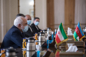 Iranian Foreign Minister, Mohammad Javad Zarif, is seen during his meeting with the Minister of Foreign Affairs of Azerbaijan, Jeyhun Bayramov, in Tehran, Iran, December 9, 2020.