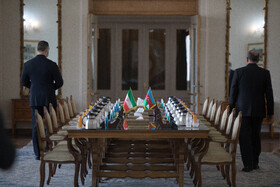 On the sidelines of the meeting between the Minister of Foreign Affairs of Azerbaijan, Jeyhun Bayramov, and Iranian Foreign Minister, Mohammad Javad Zarif, Tehran, Iran, December 9, 2020.