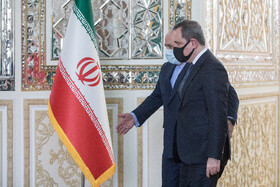 The Minister of Foreign Affairs of Azerbaijan, Jeyhun Bayramov (front), is received by Iranian Foreign Minister, Mohammad Javad Zarif, in Tehran, Iran, December 9, 2020.