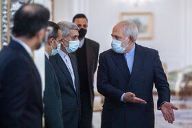 Iranian Foreign Minister, Mohammad Javad Zarif (right), is seen before the beginning of his meeting with the Minister of Foreign Affairs of Azerbaijan, Jeyhun Bayramov, in Tehran, Iran, December 9, 2020.