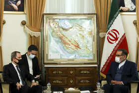 The meeting between the secretary of Iran's Supreme Council of National Security, Ali Shamkhani (right), and the Minister of Foreign Affairs of Azerbaijan, Jeyhun Bayramov, in Tehran, Iran, December 9, 2020.