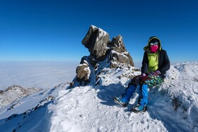 Climbing Alvand Peak, Hamadan, Iran, December 13, 2020. Alvand Peak is in the list of ultra-prominent peaks, which includes mountains around the world with a height of 1,500 meters or more.